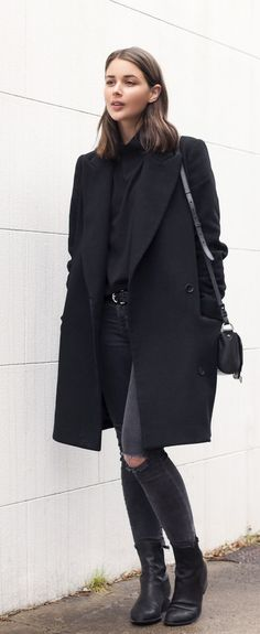Sara Donaldson is wearing all black, top from Asos, coat from Witchery, jeans from J Brand, boots from Alexander Wang and the bag is from Givenchy