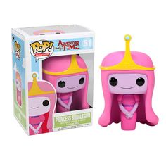 Your favorite multilingual princess from Adventure Time with Finn and Jake  has been given the Pop! Vinyl treatment with the Adventure Time Princess Bubblegum Pop! Vinyl Figure! Standing 3 3/4-inches tall, the scientifically gifted and confident ruler of the Candy Kingdom looks true to form in her puffy pink gown and her golden tiara atop her pink head. When you see just how cool the Adventure Time Princess Bubblegum Pop! Vinyl Figure looks you'll want to collect the rest in the Adventure…