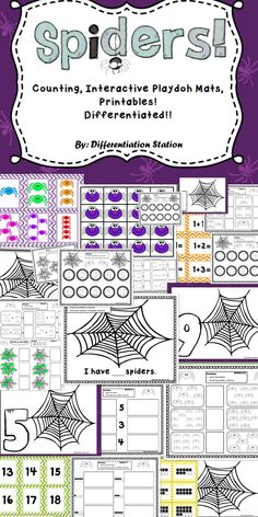 This set of fall / spider themed centers, games and printables is designed to help students master counting and number identification. Preschool, kindergarten, homeschool, and special education instruction. $
