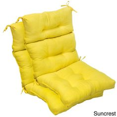 Genial All Weather High Back Chair Cushions (Set Of 2) (Suncrest), Yellow  (Plastic), Outdoor Cushion