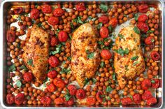 Roasted Chicken with Tomatoes, Chickpeas, & Paprika Chicken Chickpea, Roasted Chicken, Other Recipes, Great Recipes, Favorite Recipes, Vegetarian Recipes, Cooking Recipes, Healthy Recipes, Tomato Dishes