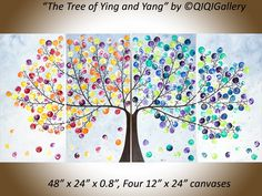 """The Tree of Ying and Yang by QIQIGallery 48"""" x 24"""" Original Landscape Art Modern Wall Paintings Acrylic Art Abstract Wall Art Tree and Flower Painting Wall Décor Wall Hangings Office Wall Art for Sale by Artist"""