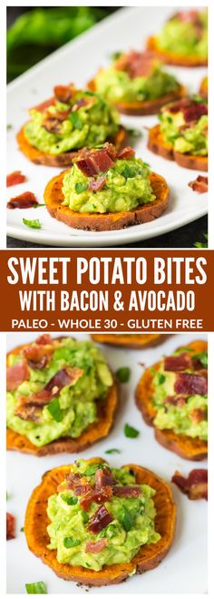 Sweet Potato Bites with Bacon and Avocado. Great finger food for game day and football parties! Paleo, Whole 30, gluten free, dairy free, and DELICIOUS. This easy and healthy baked sweet potato appetizer is always a crowd pleaser! http://healthyquickly.com