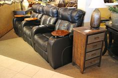 Klaussner 3 Pc Electric Black Leather Theater Seating - Colleen's Classic Consignment, Las Vegas, NV - www.cccfurnishings.com