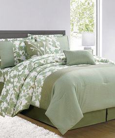 Take a look at this Sage & White Leila Comforter Set by Duck River Textile on #zulily today!