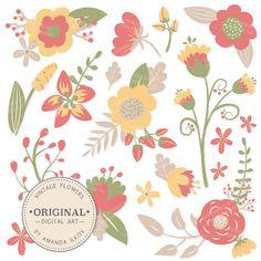 Premium Vintage Flowers Clipart & Floral Vectors - Vintage Floral, Vintage Flowers, Flower Clip Art, Vector Flowers