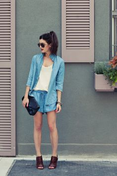 New York City Fashion and Personal Style Blog: Chambray shirt, denim shorts, patent leather clutch, ankle booties