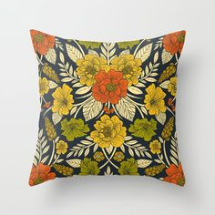 Buy Modern Floral Pattern in Orange, Yellow, Green & Navy Throw Pillow by somecallmebeth. Worldwide shipping available at Society6.com. Just one of millions of high quality products available. Navy Pillows, Couch Pillows, Down Pillows, Designer Throw Pillows, Orange Yellow, Pillow Design, Pillow Inserts, Floral, Pretty
