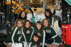 Bemidji State Hockey Cheerleaders with Bucky the Beaver