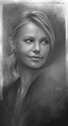 I saw Hancock again the other day and felt like giving the charlize Theron portrait another layer. It's much better now I hope you like it. ........................ WWW.NORKE.BE
