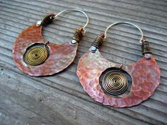 Big Pachamama Hoop Earrings, Spiral, Copper, Brass, Sterling Silver Metalsmith Jewelry, Tribal  Boho Chic