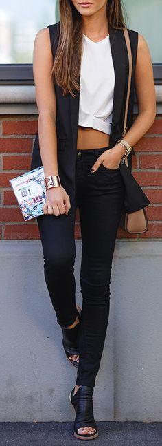Shein black vest // Oasap crop top // DSTLD black jeans