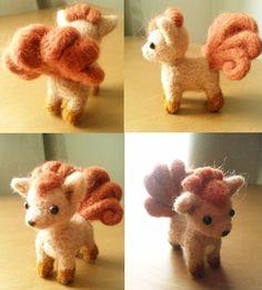 Needle Felt Vulpix, unknown maker but a great idea for a cute wool pokemon necklace. Cute Crafts, Felt Crafts, Diy And Crafts, Needle Felted Animals, Felt Animals, Pokemon Craft, Needle Felting Tutorials, Felt Diy, Wet Felting