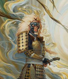 Samurai co akodo Fantasy Warrior, Fantasy Samurai, Female Samurai Art, Fantasy Rpg, Fantasy Character Design, Character Concept, Character Art, Concept Art, Dragon Samurai