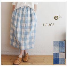 【ICHI イチ】コットン リネン ブロックチェック ギャザー スカート (151026)