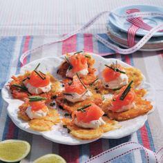 Latkes #Starter #Recipe #Latkes #SouthAfrica Birthday Menu, 20th Birthday, Good Food, Yummy Food, Delicious Recipes, Cake Flour, Smoked Salmon, Perfect Food, Seafood Recipes