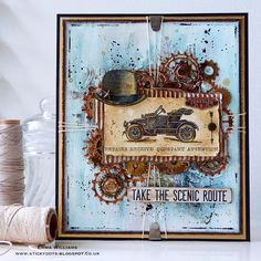Emma created a vintage style card for the Transport challenge using products from Tim Holtz