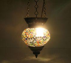 Moroccan lantern mosaic hanging lamp glass chandelier light lampen candle h 129  #Handmade #Moroccan