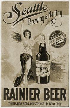 Vintage Seattle Rainier Beer Ad.
