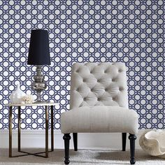 This sophisticated geometric wallpaper was inspired by screen panels, one of Kelly's favourite design secrets, this blue and white colourway is arguably the most dramatic of this design and looks great as a bold feature design without being too fussy. Screens allow you to create privacy within rooms without compromising on natural light, this stylish circular design has metallic highlights that reflect light back into the room creating a feeling of space.