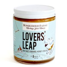 For your sweetie ~ Lovers' Leap Sea Salt Caramel Honey Cream. You'll want to jump into a jar and live there. Happily ever after, of course! Honey Caramel, Sea Salt Caramel, Salt And Honey, Gourmet Gifts, Made In America, Frozen Treats, Coffee Beans, Ice Cream, Jar