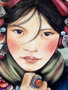 """Claudia Tremblay watercolor """"Woman from Tibet"""""""