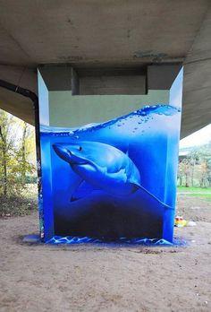 Great White shark street art