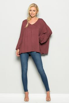 Long Puffy Sleeve V Neck Shirring Top   T1031   Annabelle