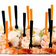 """HALLOWEEN PAR-T-FORK Soodhalter Plastics Length: 3.25"""" Sizes: 30 or 60 plastic forks Color: Orange & Black Our sturdy and colorful cocktail & appetizer forks are the perfect accessories for your next"""