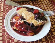 Fresh Apple, Peach and Blueberry Cobbler - The fresh peaches and apples along with the blueberries makes this dish delicious