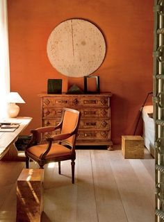 Designer Axel Vervoordt's Contemporary Venetian Palazzo - Architectural Digest Decor, Room, Interior, Orange Walls, Living Room Orange, Home Decor, House Interior, Interior Design, Wall Color
