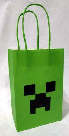 Minecraft is a procedurally-generated game of world exploration, resource harvesting, and freeform construction. Minecraft supports local and online multiplayer, and features are being added regularly. Minecraft Party Bags, Minecraft Party Decorations, Minecraft Birthday Party, 6th Birthday Parties, 8th Birthday, Birthday Gift Bags, Birthday Party Favors, Birthday Ideas, Mindcraft Party
