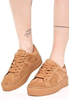 Sand Forward Motion Creeper Sneakers cuz ya never stop movin', bb. These chic sneakers feature a smooth light brown vegan suede construction, comfy padded interior, brown textured creeper sole, and lace-up closures.