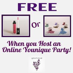 Free Lip Gloss or Eye Pigment of your choice for hosting an online Younique party with me! You will also have the potential to earn free products! https://www.youniqueproducts.com/KatelynnPotter/business