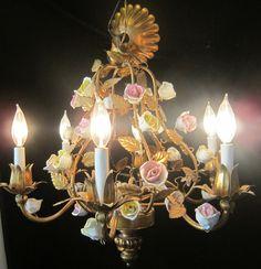 6L Gilt Antique Tole Hanging Lamp Chandelier Italy French Vintage Porcelain Rose | eBay