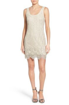 Free shipping and returns on Lace & Beads 'Megan' Embellished Sheath Dress at Nordstrom.com. Sequins and beads glitter in sparkling pinstripes on this body-skimming scoop-neck sheath finished with an ornate scalloped hem.
