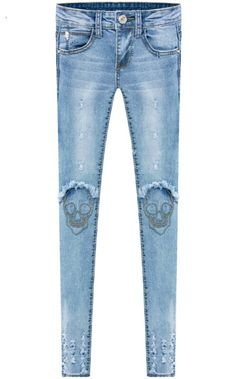 Shop Blue Pockets Ripped Skull Embroidered Denim Pant online. Sheinside offers Blue Pockets Ripped Skull Embroidered Denim Pant & more to fit your fashionable needs. Free Shipping Worldwide!