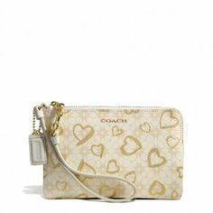 Coach Small Waverly Heart Gold And Cream Gold Multicolor Wristlet $55