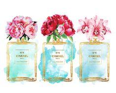#mycoolness #parfum #illustration collection. Teal blue Perfume Watercolor flower Peony peonies by hellomrmoon