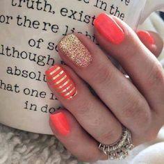 TruShine Gel Enamel - Rumba and Fashionably Late - Metallic Gold Stripe layered on top - Jamberry - DIY - Nail Art
