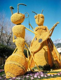Lemon Festival.  Menton is located on the Franco-Italian border, within the confines of the Côte d'Azur and the Ligurian Alps. It boasts a warm micro-climate favorable to lemon, tangerine, and orange groves.  #www.frenchriviera.com