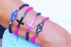 Hey, I found this really awesome Etsy listing at https://www.etsy.com/listing/196924082/black-or-purple-sideways-cross-bracelet