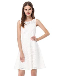 b8e4aa34501 Women Summer Casual Dress White 2017 A-Line Hollow Out Style Brand Girl  Dress Round Neck Sleeveless Dresses