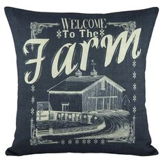 Cotton and linen-blend pillow with a farm motif. Product: PillowConstruction Material: Cotton and linenColor: MultiFeatures: Insert included Handmade by TheWatsonShopEnvelope enclosureMade in USA Dimensions: 16 x and Care: Spot clean only Linen Pillows, Cotton Pillow, Cotton Linen, Decorative Pillows, Cushions, Throw Pillow Sets, Throw Pillows, Pillow Talk, Handmade Envelopes