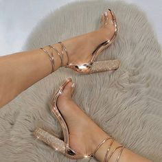 Women's Shoes - big size Women Heeled Sandals Bandage Rhinestone Ankle Strap Pumps Super High Heels 11 CM Square Heels Lady Shoes - Popular Web Sites Super High Heels, High Shoes, Women's Shoes, Me Too Shoes, Platform Shoes, Shoes Sneakers, Club Shoes, Kickers Shoes, Gold Dress Shoes