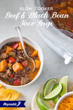 Use chili leftovers to make this simple, delicious, and flavorful Slow Cooker Beef and Black Bean Taco Soup! Use a Reynolds Slow Cooker Liner for fast and easy cleanup in 8 seconds or less, guaranteed, with no soaking or scrubbing. Then top with tortilla strips, cheese, tomatoes, and a wedge of lime for a fresh twist on this Mexican-inspired dish!