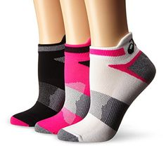 ASICS Women's Quick Lyte Cushion Single Tab Running Socks, Pink Glow/Black, Small - http://www.exercisejoy.com/asics-womens-quick-lyte-cushion-single-tab-running-socks-pink-glowblack-small/fitness/