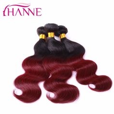 7A Ombre 1b 99j Hair Body Wave 3pcs/lot Black & Burgundy Brazilian Hair Two Tones BrazilianVirgin Hair Red Human Hair Extensions