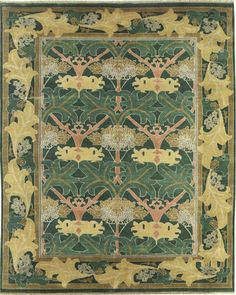 Arts and Crafts Rug (Craftsman style carpet), by The Persian Carpet, wool Craftsman Rugs, Craftsman Style, Hallway Carpet Runners, Art Nouveau Architecture, Green Carpet, Diy Carpet, Arts And Crafts Movement, Carpet Design, Persian Carpet