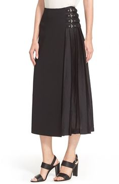 A.L.C. 'Booth' Belt Detail Pleated Crepe Skirt available at #Nordstrom
